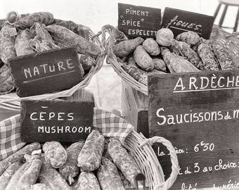 wall art for kitchen, French market print, foodie art print, farmhouse decor, French sausages food print, black & white food photography