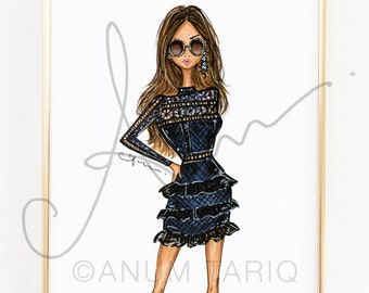 Fashion Illustration Print, Self-Portrait Lace