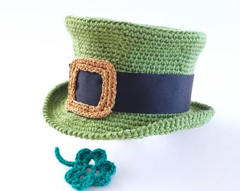 Baby Leprechaun Hat Photo Props Cotton Crochet Irish Hat Baby Shower Gift St Patricks Day Baby Boy Top Hat