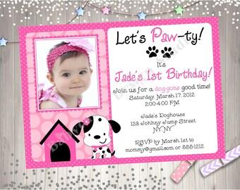Puppy Party Birthday Invitation Invite Photo Picture Invitation Printable