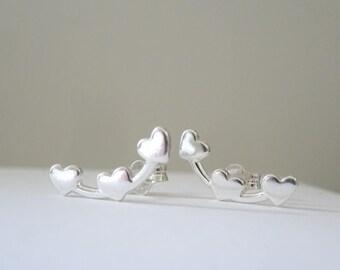 Heart Ear Climbers, Sterling Silver studs, Minimal triple heart earrings, Hearts Ear cuff. Heart earrings