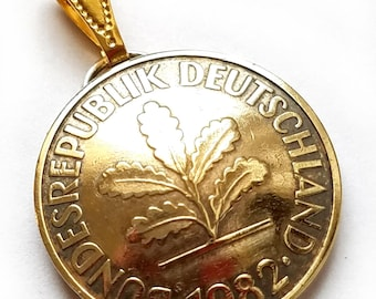German Coin Pendant 10 Pfennig Oak Tree Vintage Germany Necklace Germany Jewelry Unique Charm Gift Foreign World