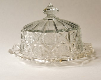 Dome Covered Dish, Butter Dish, Cut Glass Domed Plate
