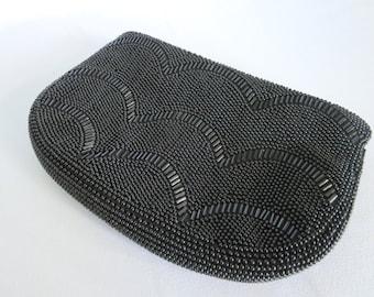 Vintage Black Bag, Black Beaded Bag, Beaded Bag, Bag, Handbag, Purse, Clutch, Vintage, Zipper, Pouch, Evening Bag, Wedding , 50s, 50s Bag