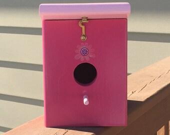 Berry Pink Handmade Wood Hanging Outdoor Birdhouse