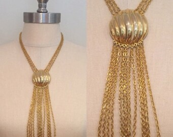 30% Off Sale 70s Long Gold Chain Tassel Pendant Necklace