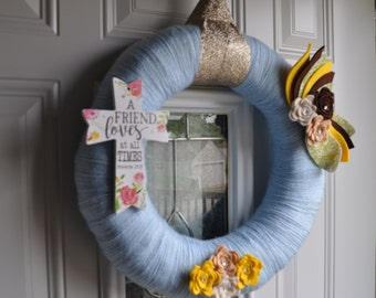 MADE TO ORDER**Yarn and Felt Wreath, Cross Wreath, Blue Wreath, Felt Flowers