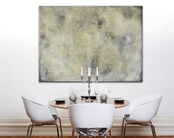 Large Painting, Original Art, Large Canvas Art Contemporary Art, Modern Art Abstract Painting gray painting moon painting, cream gray modern