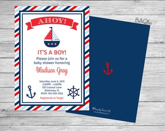 Nautical Baby Shower Invitation Printable Front and Back - Ahoy It's a Boy Baby Shower