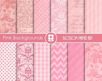 Digital Paper, Texture Pink Old Digital Paper Pack, Scrapbooking Paper, Textures - Damask - Dots - Chevron - INSTANT DOWNLOAD - 1647