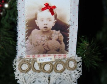 primitive shabby sweet/Christmas tag/ornament/ooak