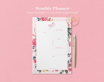 Botanical Monthly Planner Printable, Planner Inserts, Monthly Schedule, Printable Planner Pages, Planner Inserts, Undated Planner, BuJo