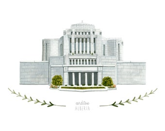 Cardston Alberta LDS Temple Illustration - Archival Art Print