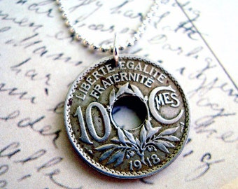 Antique Coin Jewelry France 10 centime COIN NECKLACE - French - Republique Francaise