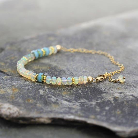 White Opal Bridal Bracelet - Wedding Bracelet