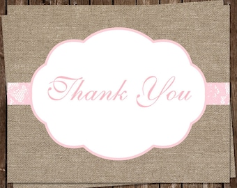 Burlap Thank You Cards, Country, Chic, Rustic, Lace, Pink, Baby Shower, Bridal, Wedding, 20 Folding Notes, FREE Shipping