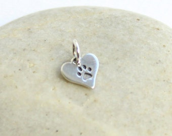 Sterling Silver Etched Paw Print Heart Charm -- One Piece