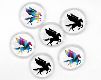 Custom Pegasus Magnets - set of 6 - magic, pegasus gift, pegasus theme party, party favor, baby shower, housewarming, mythical, flying horse