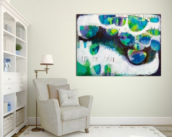 "Large giclée print with, ABSTRACT print of original painting, blue, white, black ""Let's light up the dark"""