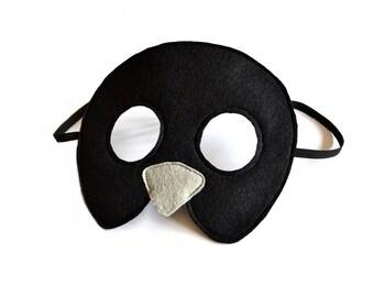 Kids Mask, Black Bird Mask, Bird Mask, Kids Animal Mask, Carnival Dress up Mask, Halloween Mask, Soft Toys, Gift for Kids,  Made in UK