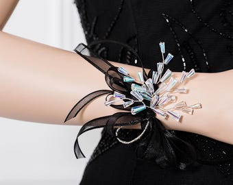 Limited Edition Iridescent Clear Corsage - Rainbow Wrist Corsage