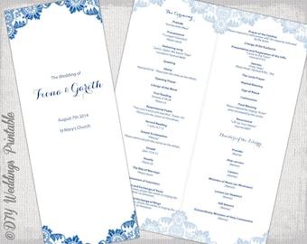 Catholic Wedding Program Template Champagne Scroll - Catholic wedding program template
