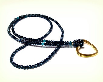 Jeweled Teal Beaded Eyeglass Holder - Teal Pearl and Crystal Eyeglass Holder – Lanyard