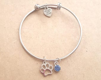 Silver Paw Bangle Bracelet, Paw Bracelet, Paw Jewelry