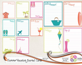 Printable Journal Cards Summer Vacation Travel, Printable Note cards, Labels, instant download  - 300dpi, jpg, PNG
