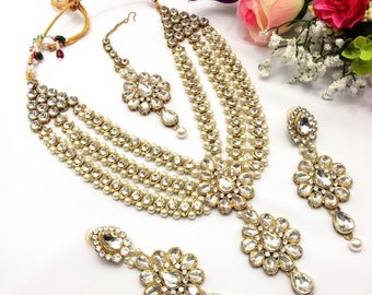 Handmade Indian Jewellery Patti Set Rani Haar Bollywood Necklace Set Indian Jewelry