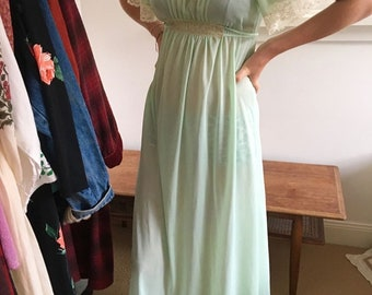 1960's pastel green mighty slip dress semi sheer retro hippie dress