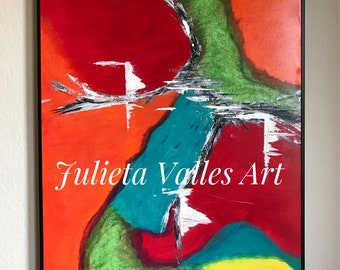 "Abstract Art -- ""Happiness"" -- Acrylic Painting -- 24x30 -- Red, Orange, Green, Teal, Yellow, White, Orange -- Modern Art -- Colorful Art"