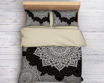 Black and White Bedding, Mandala Bedding, Boho Bedding, Hippie Bedding, Bohemian Bedding, Ethno Bedding, Queen Mandala Bedding, Full Bedding