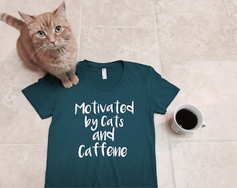 Cat Lover Gift Cats and Caffeine Coffee Lover Crazy Cat Lady Screen Printed T-Shirt Tee Shirt T Shirt Ladies Womens Funny cats pets
