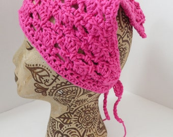 Bright Pink Neck Kerchief, Tie On Bonnet, USA Grown Cotton