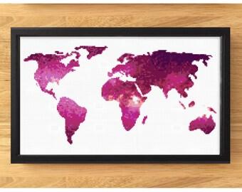 World Map Cross Stitch Pattern - Modern Pink Galaxy Cross Stitch Pattern - Travel World Map Art - Cross Stitch Chart - PDF