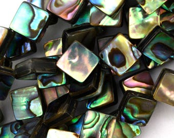 "14mm abalone shell diamond beads 15.5"" strand 39442"