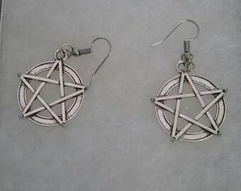 Tebetan silver pentacle dangle earrings
