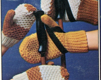 1960's Knit Mittens with Ribbed Cuffs  for the Family Pattern Instant Download PDF