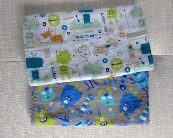 Baby boy monsters and robots burp cloth set, burp cloths, burp cloths boy, boy burp cloths, burp rags, monster baby shower, baby burp cloth