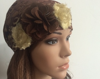 Brown Flowers Head Cover, S-0019, Tichel, Snood, Pre Tied Headwear, Jewish Head Scarf, Headscarves, Hair Covering, Tichel, Sigal Shleifer