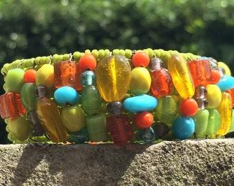 Tropical Island Bracelet //  Memory Wire Bracelet //  Glass Beads  // Coastal // Beach // Tropical // Bright
