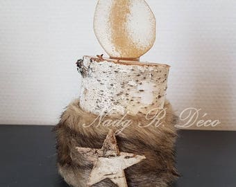 Birch wood decoration. Imitation candle holder. Scandinavian style. hygge