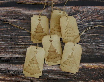 Layered Pine Tree Hang Tags ~ Coffee Stained ~ Primitive Farmhouse Tags ~ Christmas Gift Tags ~ Handmade