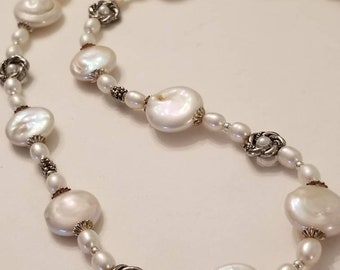 Pearl necklace, coin pearl necklace, white pearl necklace, silver and pearl necklace, bridal necklace, wedding necklace