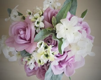 Violet purple rose, cream and mint keepsake wedding bouquet, bridal bouquet, silk bouquet, flower bouquet, artificial bouquet