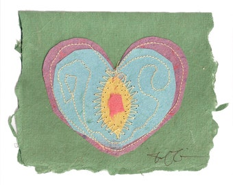 Heart Card Handmade Paper with stitching