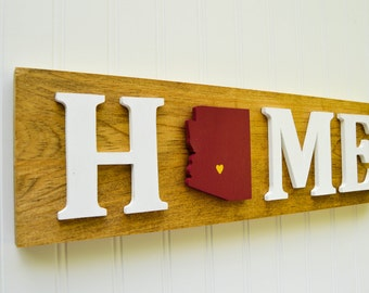 """Arizona State Sun Devils """"State Heart"""" Home Sign - Handcrafted wood with official team colors"""
