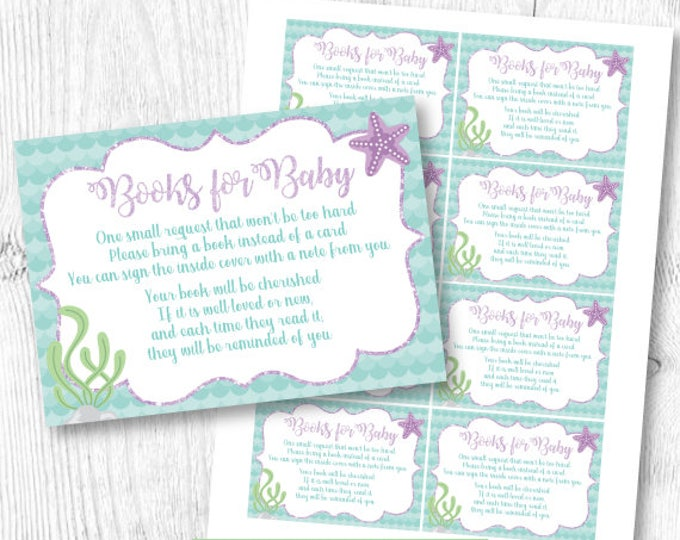 Bring a book baby shower Insert, Mermaid Baby Shower book request, INSTANT DOWNLOAD
