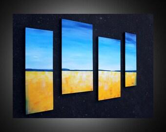 Multi panel canvas art -  abstract canvas art, abstract landscape paintings, modern wall art, prairie art, canola field, original art